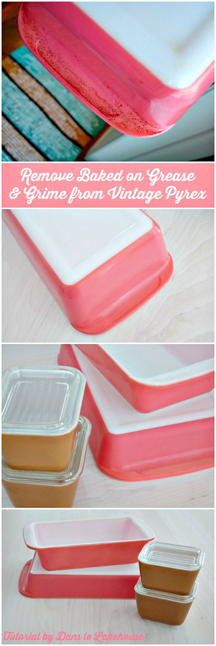 How to Clean Baked on, Burnt on Grease and Grime from Vintage Pyrex Bake Ware                                                                                                                                                      More