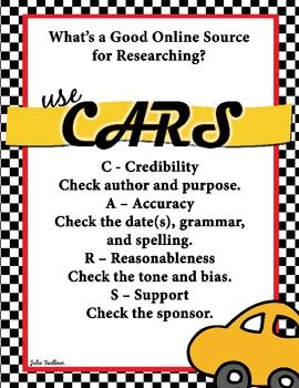 Evaluating Website Credibility CARS Acronym Poster. This would be a great poster to hang in a classroom where students will be doing lots of research. The poster covers some key tips for evaluating a website. Acronyms are something simple to teach students that will be easy to remember when they do research at home.
