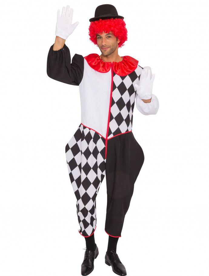 Overall Pantomime deluxe Herren für Karneval   Fasching » Deiters   pantomime  Anzug  clown  schwarz  weiß  rot  Herren  Ma…  6a1e289078386
