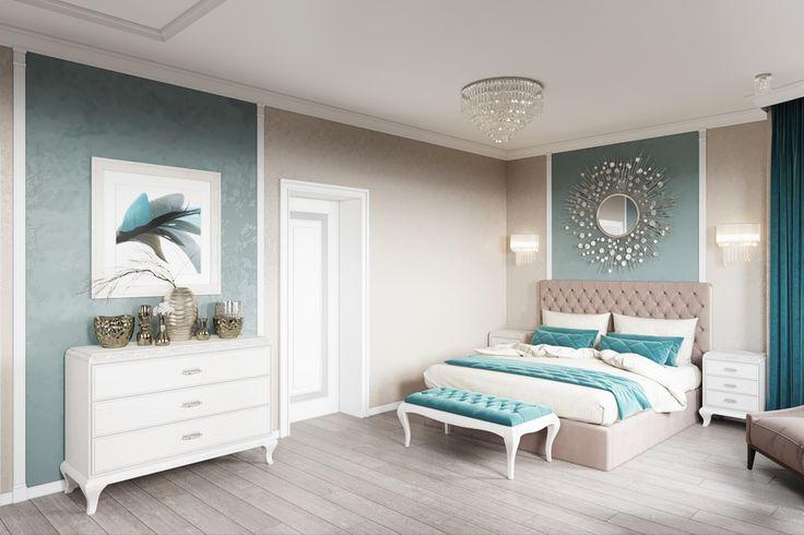 """Спальня с акцентами цвета """"Бискайский залив"""" - Галерея 3ddd.ru"""