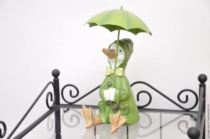 Купить Статуэтка Утка под зонтом, деревенский стиль Прованс - прованский стиль, шебби-шик