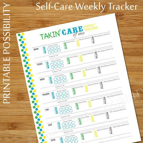 Self Care Tracker, Weekly Personal Care Planner Page ...