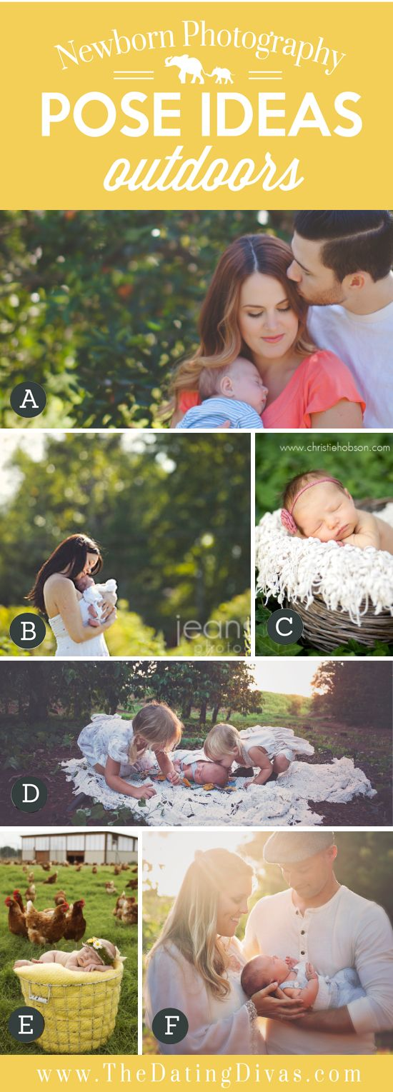 Ideas for posing newborns and their families outdoors.