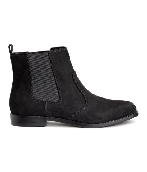 H&M Black Suede Chelsea Boots; Buy it now: http://fave.co/2bt0F9g