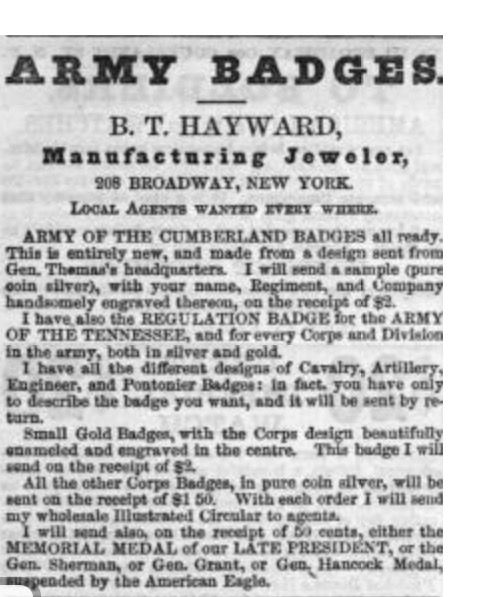 August 26, 1865 Harpers Weekly Ad.  More info on my Facebook page.  From The Badge Maker.