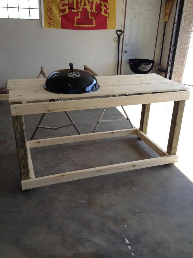 custom table for kettle bbq station pinterest kettle. Black Bedroom Furniture Sets. Home Design Ideas