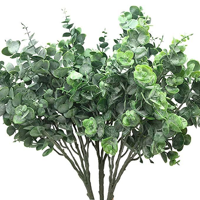 BY Artificial Silver Dollar Eucalyptus Fake Leaves Branches Home Greenery Decor