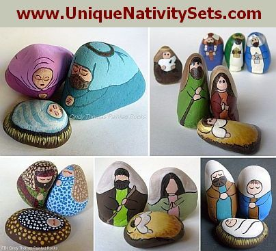 My nativity sets hand painted on rocks
