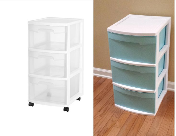 My diy plastic drawer makeover used aqua spray paint to for Painting plastic bins