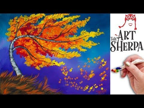 Fall Birch Tree Q Tip Painting Technique for BEGINNERS EASY Acrylic Painting - YouTube