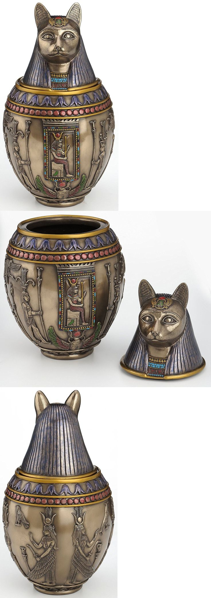 Pet Memorials and Urns 116391: Rare Egyptian Bastet Bronze Canopic Jar Cat Burial Urn - We Ship Worldwide BUY IT NOW ONLY: $53.44