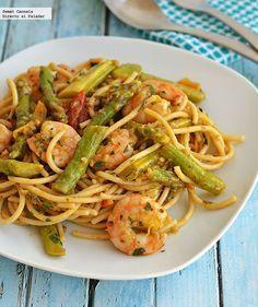 Receta para preparar spaghetti con camarones y espárragos. Con fotos del paso a paso y consejos de degustación