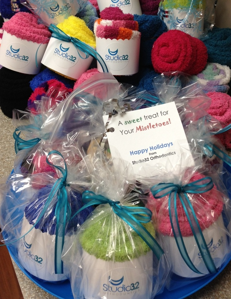 Gift Basket Ideas For Dental Office : Studio Orthodontics Sock Cupcake  Holiday Treats Gift