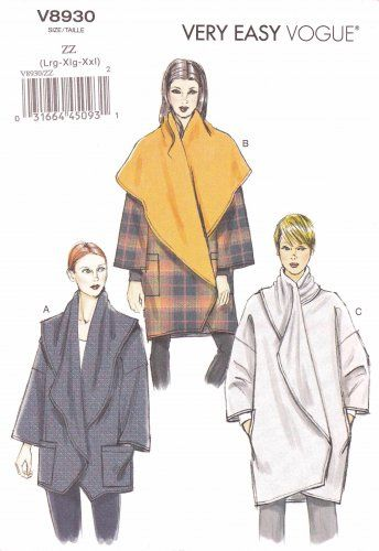 Vogue Sewing Pattern 8930 Misses Size 16-26 Easy Loose-fitting Jacket Length Options