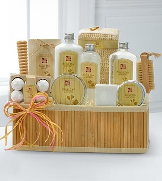 Natural Restoration! East meets West in this Asian inspired bamboo caddy filled with a sweet pea scented collection of luxurious and relaxing Apothecary East® spa products.  GOOD spa gift includes shower gel, body lotion, bath crystals, moisturizing body butter, bar soap and a bath poof sponge.