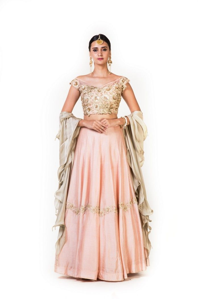 0038f68f98012 Dusty Peach Crop Top Lehenga