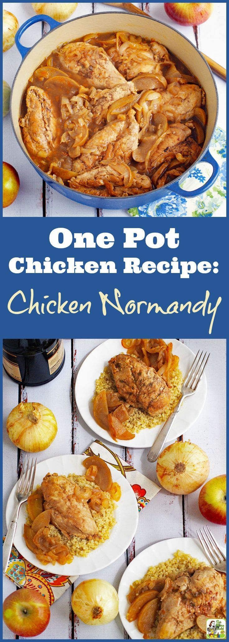 Chicken Normandy à la Marie-Celine. Click to get this healthy and easy one pot chicken recipe made with apples, onions and brandy. Serve on rice, quinoa, gluten free noodles, or wild rice. Naturally gluten free.