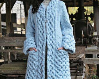 Hand Knit women's coat aran women's jacket women hand