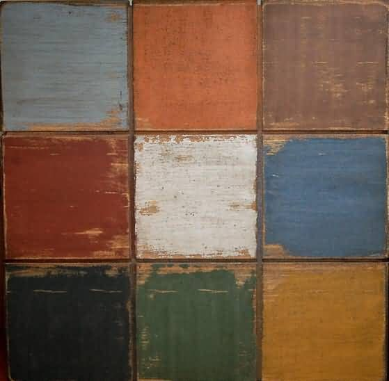 From top left to right...    Slate, Pumpkin, Brown    From middle left to right...    Barn Red, White, Soldier Blue    From bottom left to right..