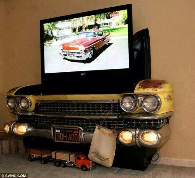 Old Car Front End For TV Console.