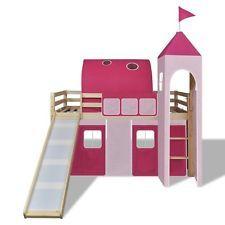 Kids Mid Sleeper Bed Castle Princess Cabin Loft Wooden Ladder Tent Slide Girls