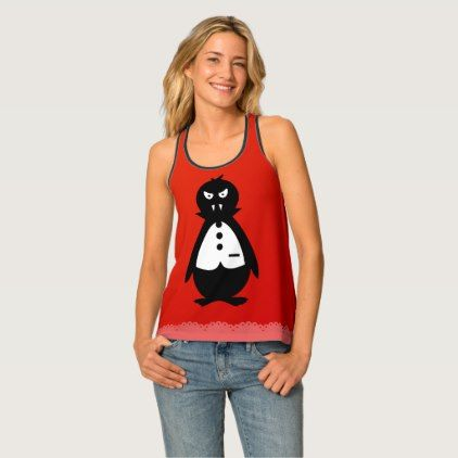 Cute Vampire Penguin VZS2 Fiery Red Tank Top - black gifts unique cool diy customize personalize