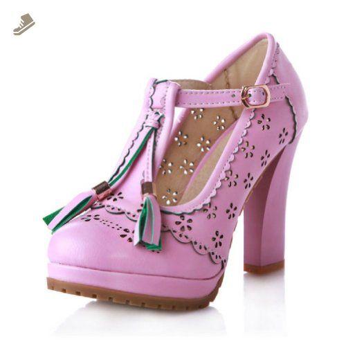 Charm Foot Fashion T Strap Womens Platform Chunky High Heel Pumps Shoes (10, purple) - Charm foot pumps for women (*Amazon Partner-Link)