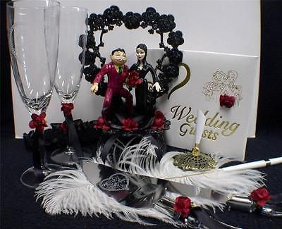GOMEZ Morticia ADDAMS Family Wedding Cake Topper LOT Glasses Knife Server Book in Home & Garden, Wedding Supplies, Wedding Cake Toppers | eBay