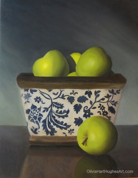 "Still life painting by Olivia Hart-Hughes called ""Collection of Apples"" - Oil on Board.  ©Olivia Hart-Hughes Art 2014"