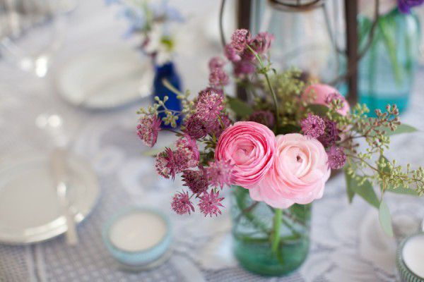 Light Pink Flower Arrangements Centerpieces | pink ranunculus and clover photo by Summer Street Photography via The ...