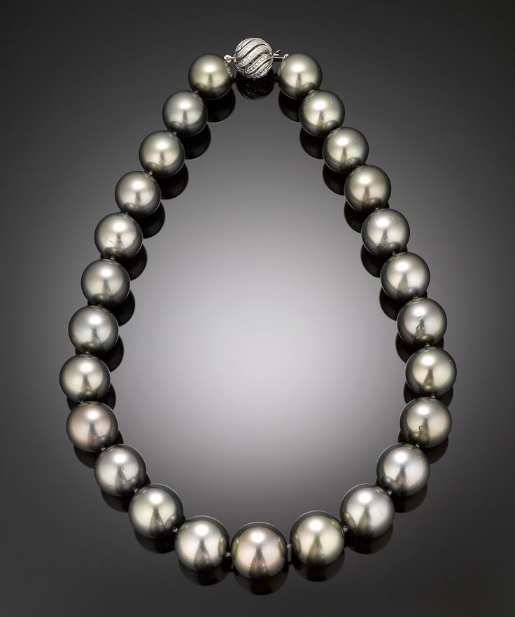 With a cashmere sweater this fall :)   Black Pearl Necklace, Tahitian Pearl Jewelry ~ M.S. Rau Antiques