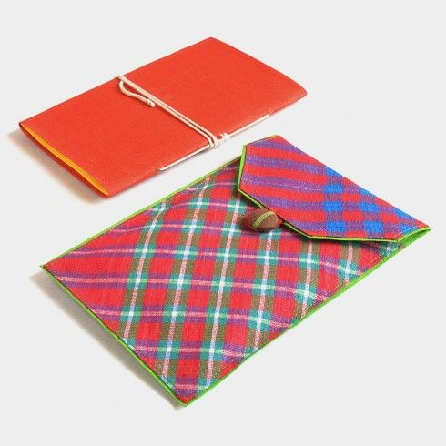 Buy Red & Blue Banaras Pouch Notebook at Tadpole Store