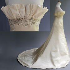 Priscilla of Boston Platinum Wedding Dress Gown Ivory Silk Beaded Embroidery 10