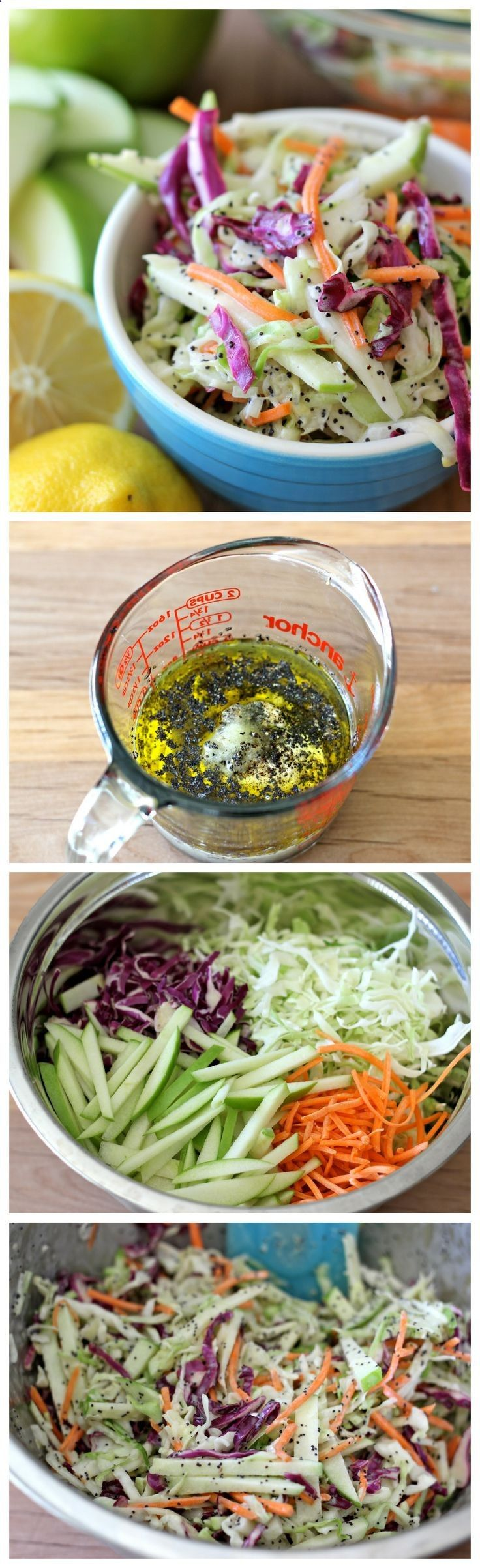 Apple and Poppy Seed Coleslaw Recipe ~ Wonderfully tangy and refreshing, and the perfect side dish to any meal!
