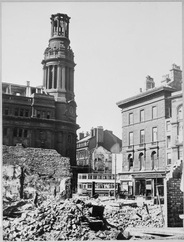 "Rubble on a bomb site in Manchester ~ part of ""WAR OFFICE SECOND WORLD WAR OFFICIAL COLLECTION"""