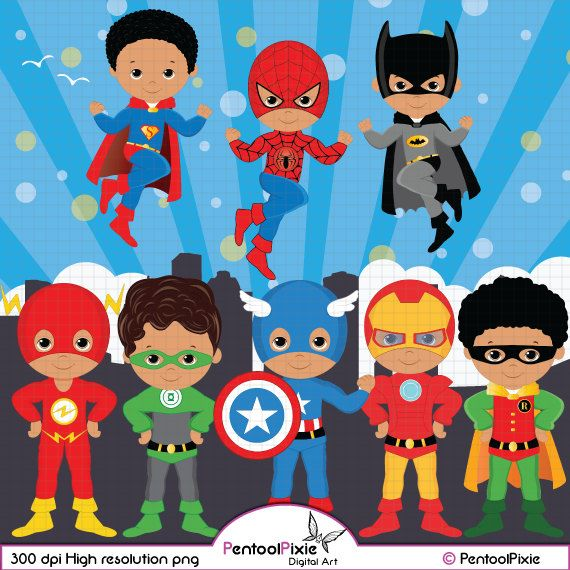 Superhero Art For Little Boys: African American Superhero Clipart, Super Hero Clipart