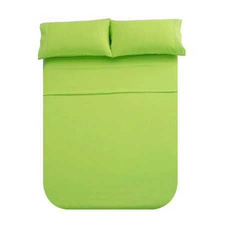Honeymoon 1800 Brushed Microfiber Embroidered Bed Sheet Set, Ultra Soft, Full - Lime Green