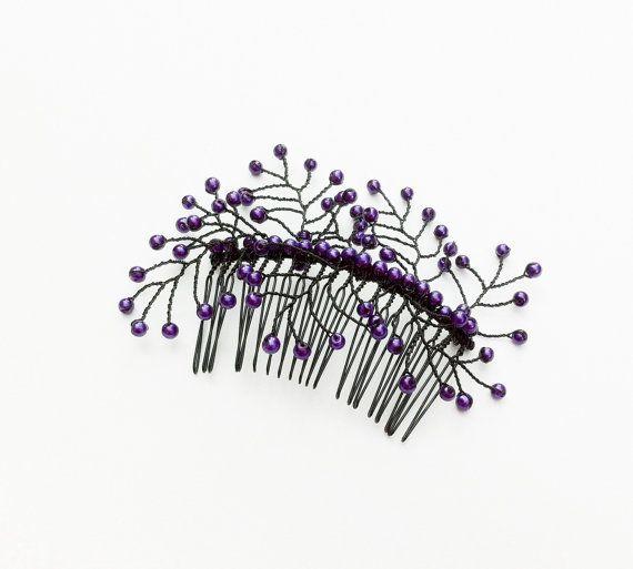 Zwart / paars haar dia, Beaded Flower kam met florale takjes glas parels, bruids haar kam, bruiloft haartoebehoren, haar Vine