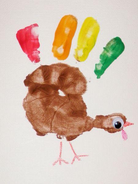 Thanksgiving craft ideas - painted handprint turkey