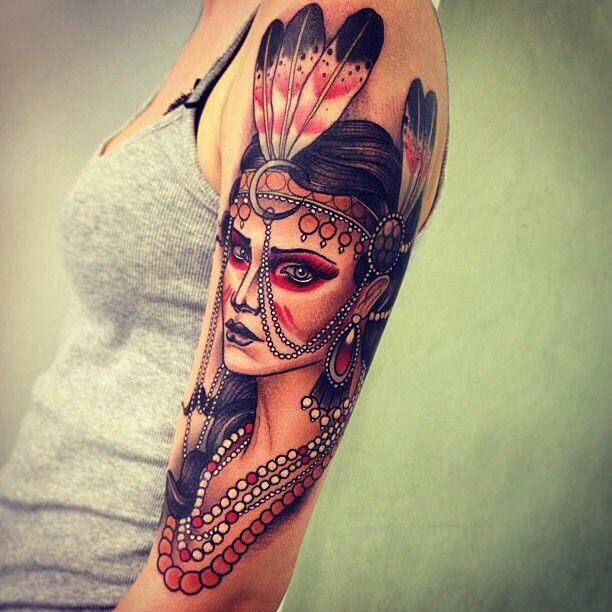Native american woman upper arm tattoo body art for Indian woman tattoo