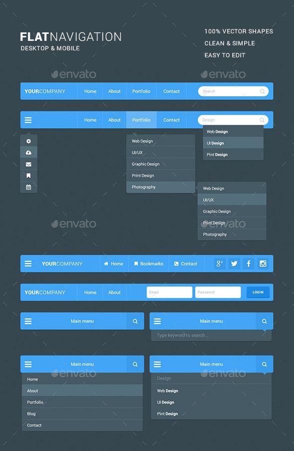 Flat Navigation Kit - Navigation Bars Web Elements