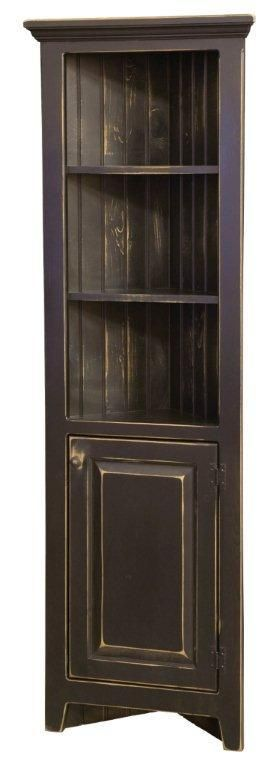this is the style cabinet I would like for the corner.  I would finish it in distresses blue with wooden oak color beadboard in the back