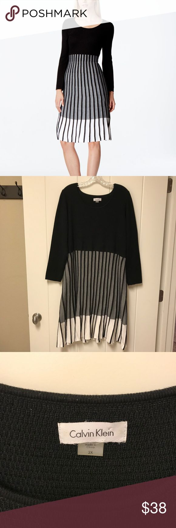 Calvin Klein Pleated Contrast Sweater Dress 2X Black, white and gray pleated skirt sweater dress by Calvin Klein.  Scoop neck, pullover style.  Very good pre-owned condition - there are a few nubs here and there on the fabric (see pic #5).  Bust across the front area measures approx. 22 inches, and the length of the dress measures approx. 40.5 inches. Calvin Klein Dresses