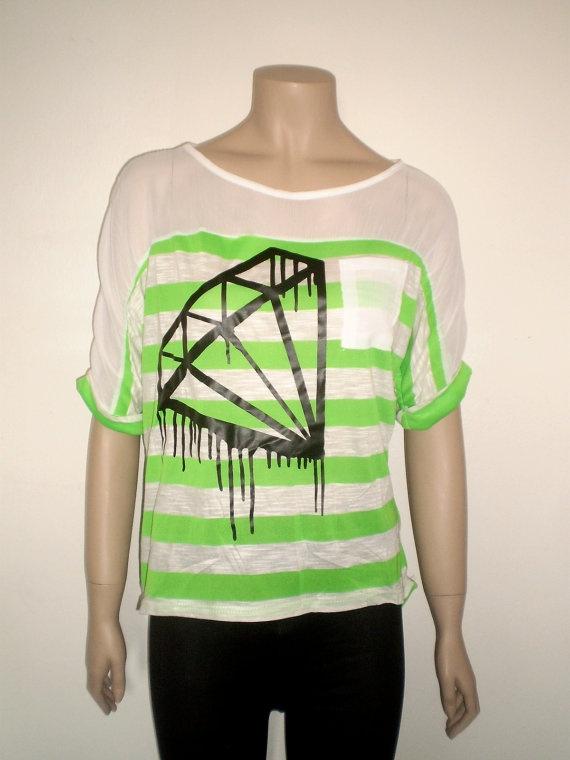 Neon green black diamond t shirt