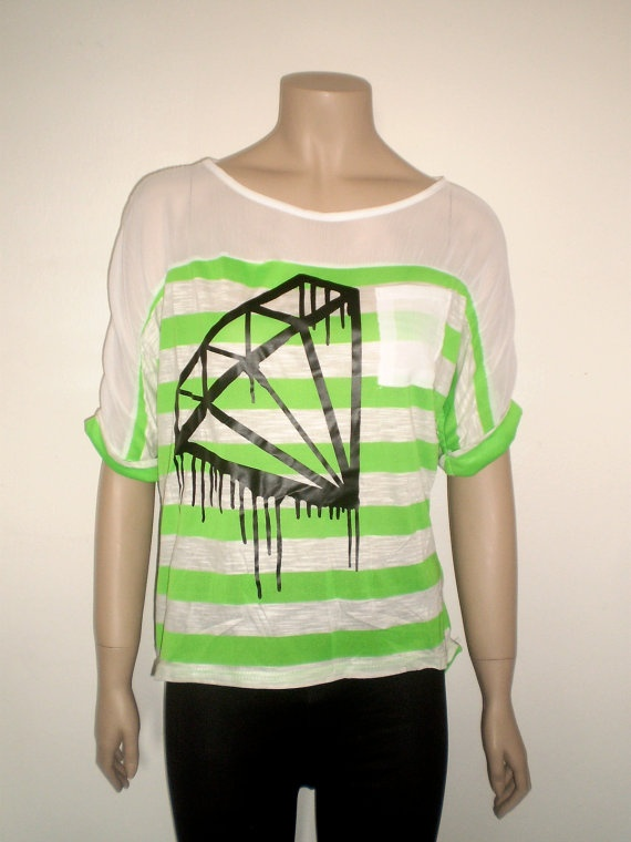 Neon green black diamond t shirt