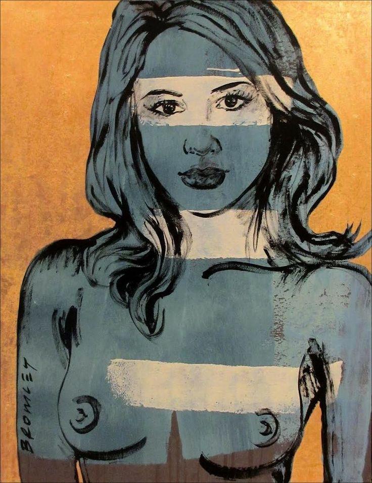 "DAVID BROMLEY Nude ""Scherri-Lee"" Polymer & Gold Leaf on Canvas 120cm x 90cm"