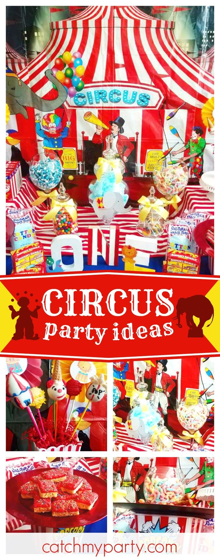 Check out this awesome Circus birthday party! The dessert table is amazing!! See more party ideas and share yours at CatchMyParty.com #carnival #circus #1stbirthday