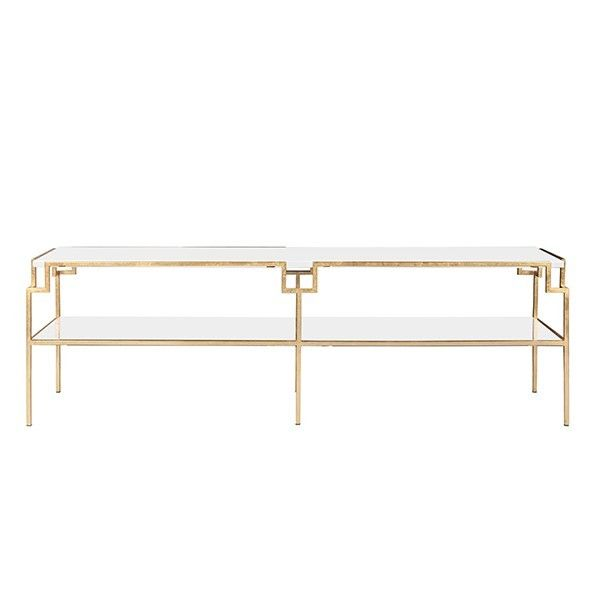 Worlds Away Helen Gold Leaf Coffee Table With White Lacquer Top  #coffeetabledesign Modern Coffee Table