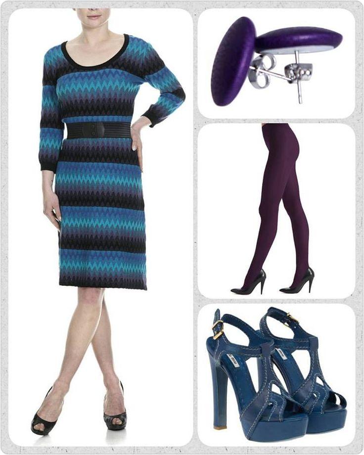 KUNNE det overhovedet være andre kjoler end den smukke strikkede Adriana kjole der var fredags favoritten i dag? . Nej vel! Har haft optur over den hele ugen🙌🙌🙌 . Dress den op med et par violette strømpebukser, et par fine lilla Eardots øreringe og et par cool højhælede sandaler. De viste er fra mit yndlings mærke Miu Miu💜💙 . Og SÅ er der bare at gå ud og nyde livet med tank ryg!