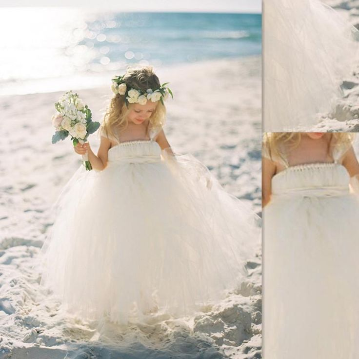 2016 Beach Flower Girl Dresses White Tulle Cheap Puffy Ball Gowns Seaside Wedding Party Gowns For Girls Ankle Length Lime Green Flower Girl Dresses Little Girl Flower Girl Dresses From Firstladybridal, $58.97| Dhgate.Com